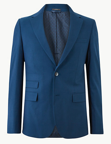 Blue Slim Fit Jacket with Stretch