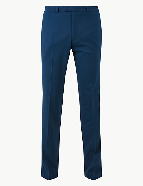 Blue Slim Fit Trousers with Stretch