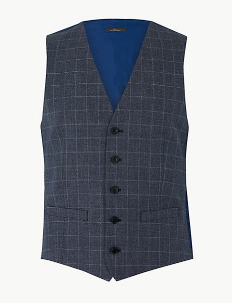 Checked Slim Fit Waistcoat
