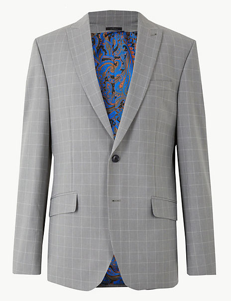 Grey Checked Regular Fit Jacket