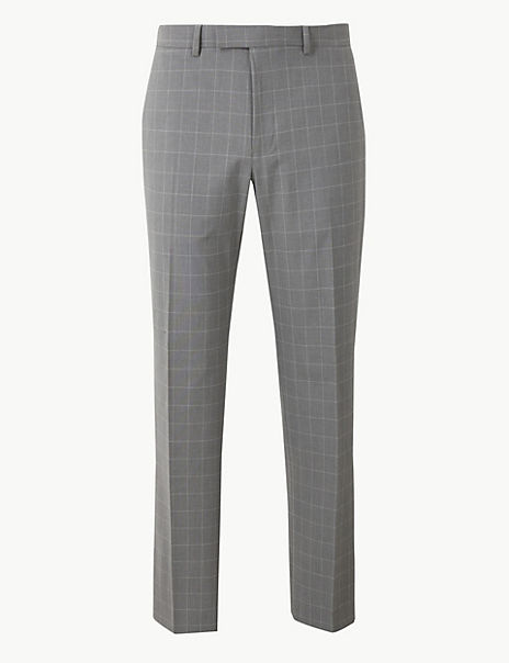 Grey Checked Regular Fit Trousers