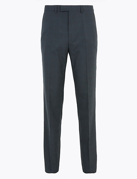 Navy Checked Regular Fit Trousers