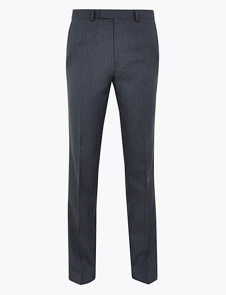 Navy Checked Slim Fit Trousers