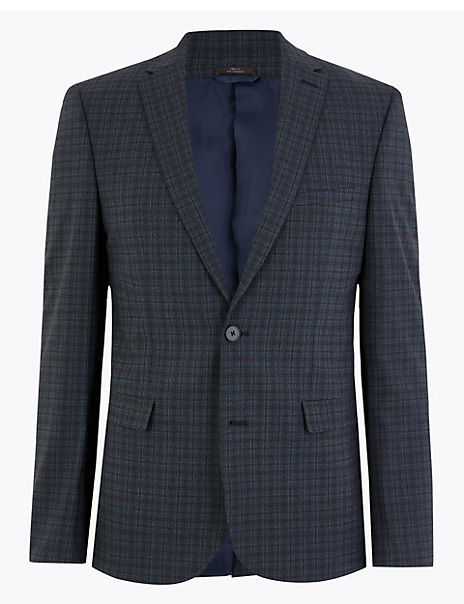 Skinny Fit Checked Jacket