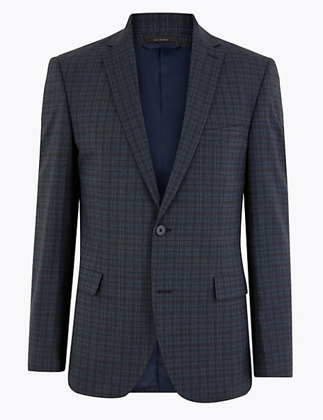 Tailored Fit Checked Suit Jacket
