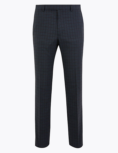 Tailored Fit Checked Suit Trousers