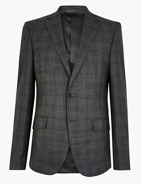 Charcoal Checked Regular Fit Jacket