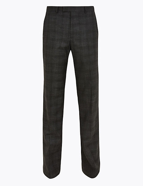 Charcoal Checked Regular Fit Trousers