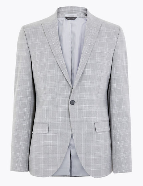 Grey Checked Skinny Fit Jacket