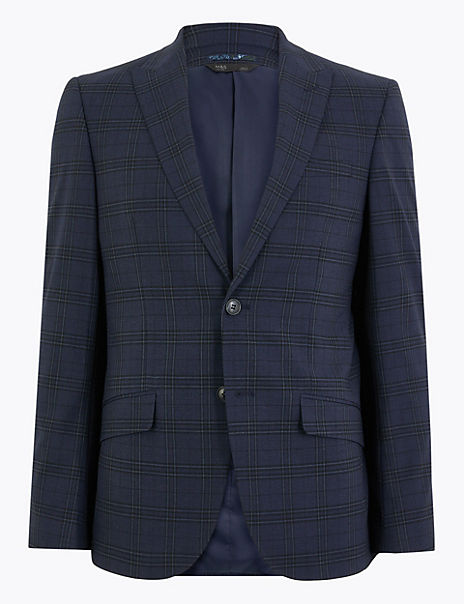 Blue Slim Fit Checked Jacket
