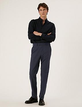 Pantalon bleu marine coupe ajustée à motif micro-texturé