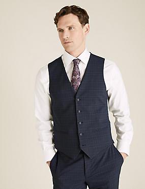 Blue Brown Check Waistcoat
