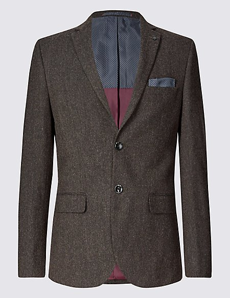 Brown Textured Modern Tailored Fit Jacket