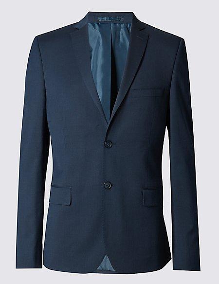 Pinstriped Modern Slim 2 Button Jacket