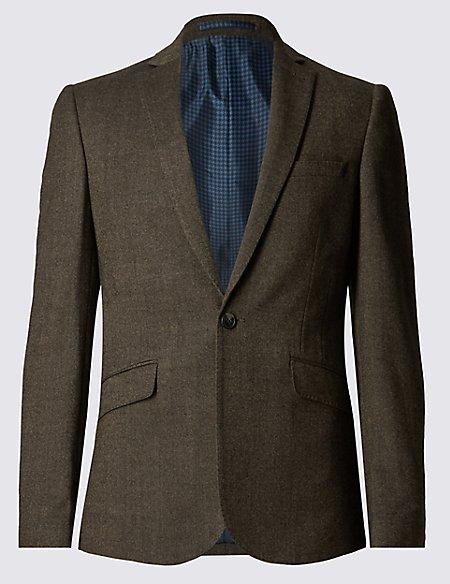 Brown Textured Modern Slim Fit Jacket