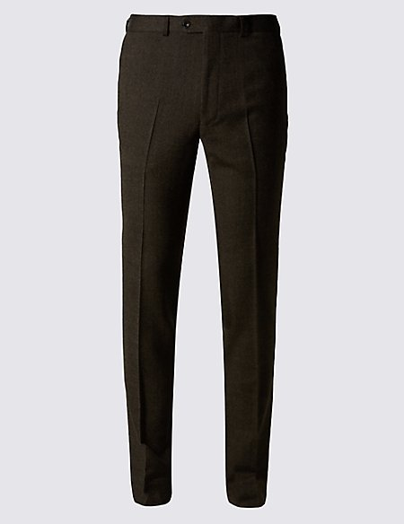 Brown Textured Modern Slim Fit Trousers