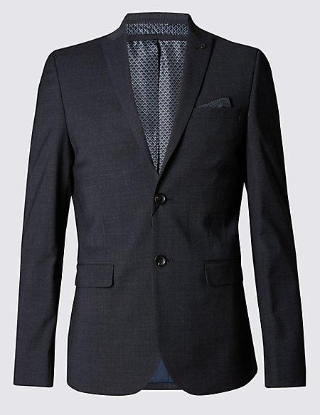 Charcoal Textured Modern Slim Fit Jacket