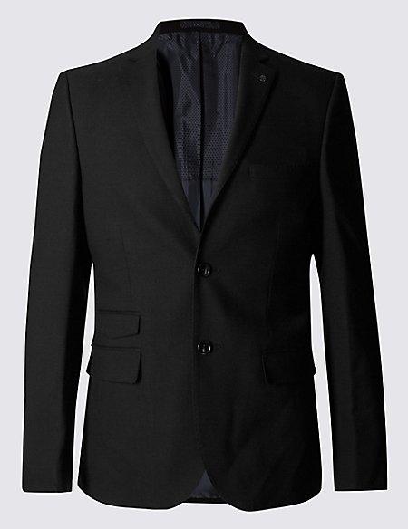 Black Textured Modern Slim Fit Jacket