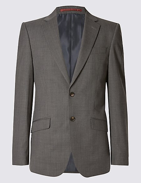 Grey Textured Slim Fit Jacket