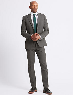 Grey Textured Regular Fit Suit