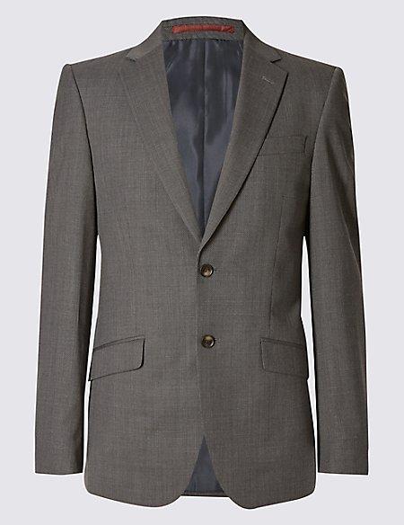 Grey Textured Regular Fit Jacket