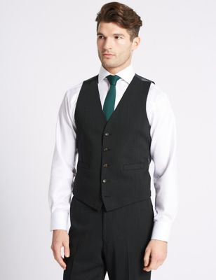 Charcoal Textured Tailored Fit Waistcoat