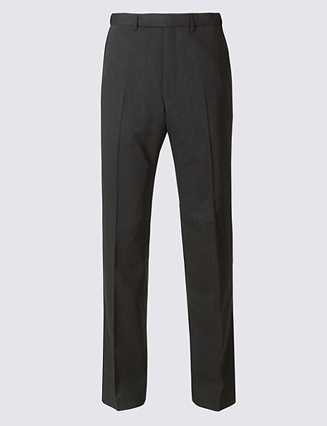Charcoal Textured Regular Fit Trousers