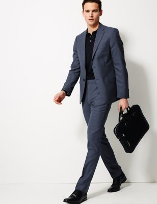 Big & Tall Blue Textured Slim Fit Jacket