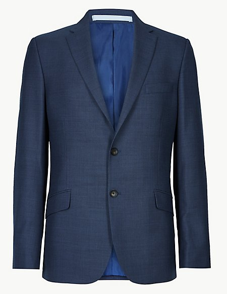 Big & Tall Blue Textured Slim Fit Jacket