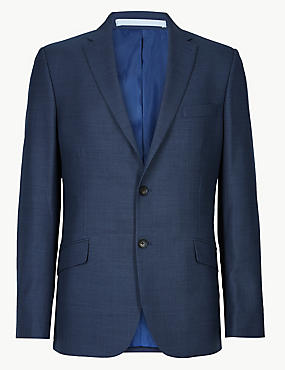 Big & Tall Blue Textured Slim Fit Suit