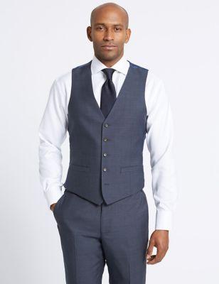 Blue Textured Slim Fit Waistcoat