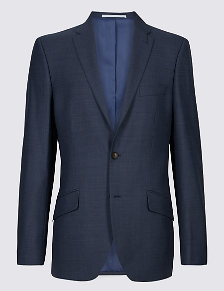Blue Textured Tailored Fit Jacket