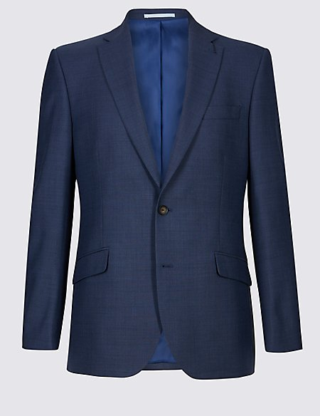 Blue Textured Regular Fit Jacket