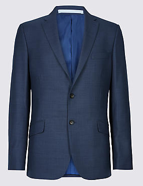 Blue Textured Slim Fit 3 Piece Suit