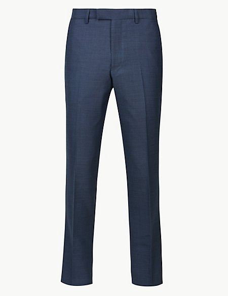 Big & Tall Blue Textured Slim Fit Trousers