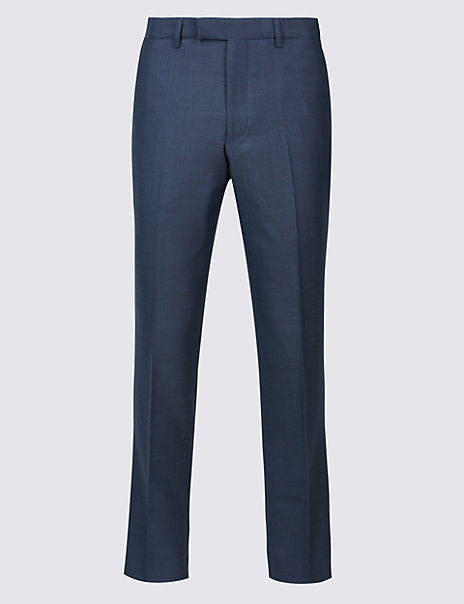 Blue Textured Slim Fit Trousers