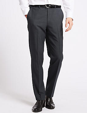 Grey Striped Tailored Fit Trousers