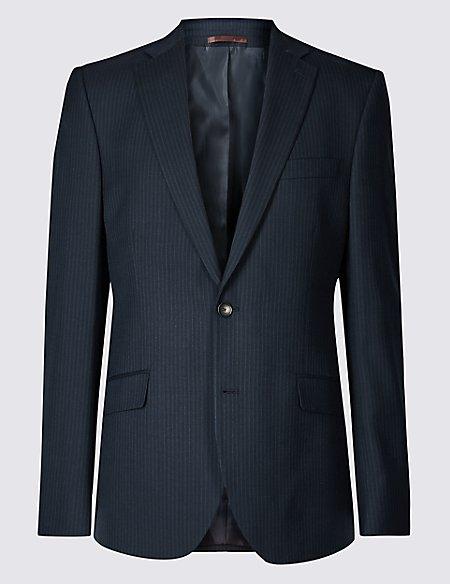 Navy Striped Regular Fit Jacket