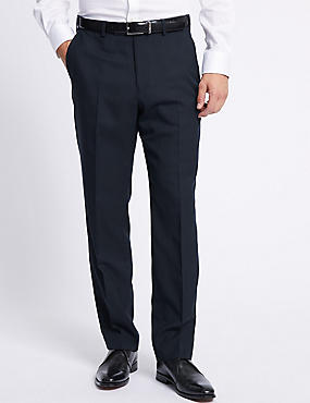 Big & Tall Navy Striped Regular Fit Trousers