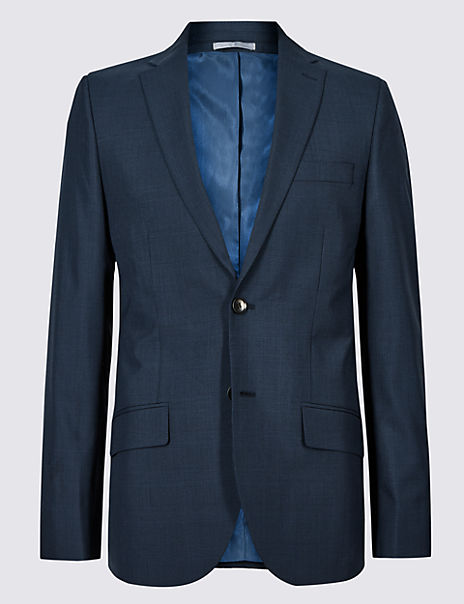 Indigo Checked Tailored Fit Jacket