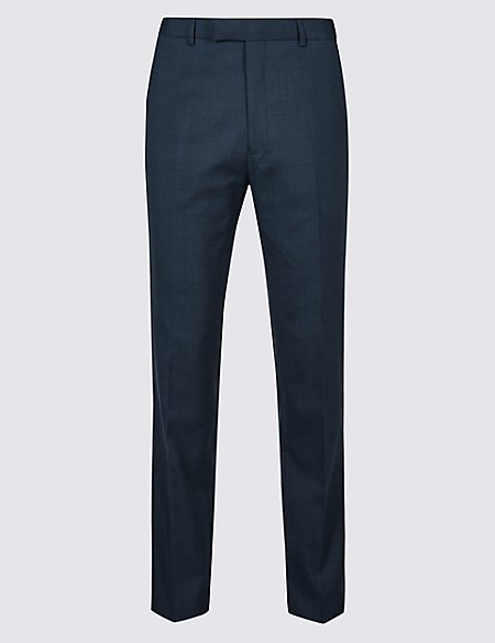 Indigo Checked Tailored Fit Trousers