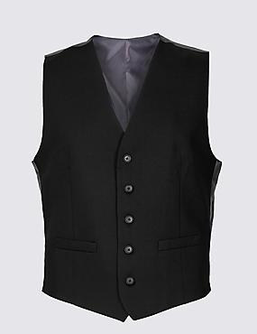 Black Regular Fit Waistcoat