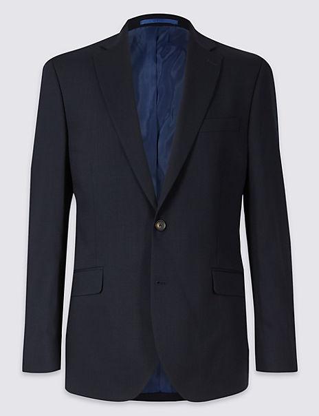 Navy Textured Regular Fit Jacket