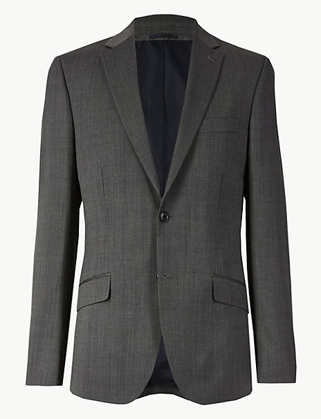 Big & Tall Grey Textured Tailored Fit Jacket