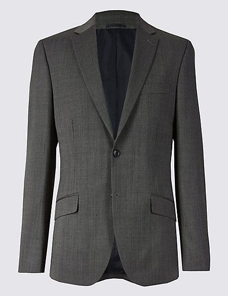 Grey Textured Tailored Fit Jacket