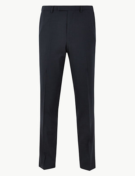 The Ultimate Navy Checked Slim Fit Trousers