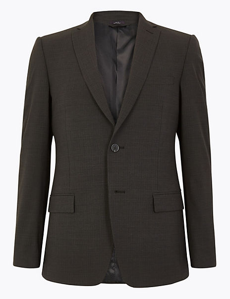 The Ultimate Grey Slim Fit Checked Jacket