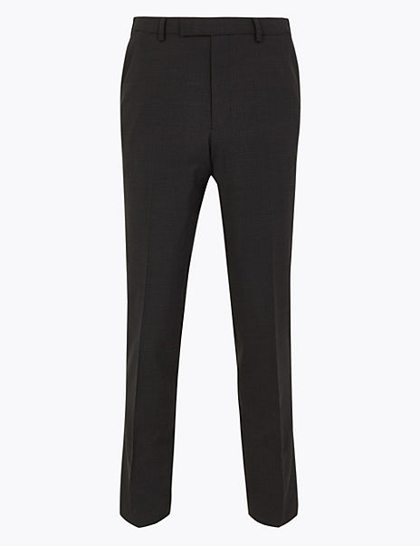 The Ultimate Grey Slim Fit Checked Trousers