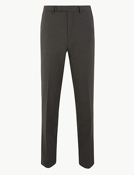 Grey Checked Tailored Fit Trousers