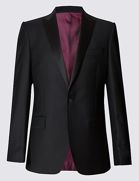 Black Tailored Fit Wool Jacket